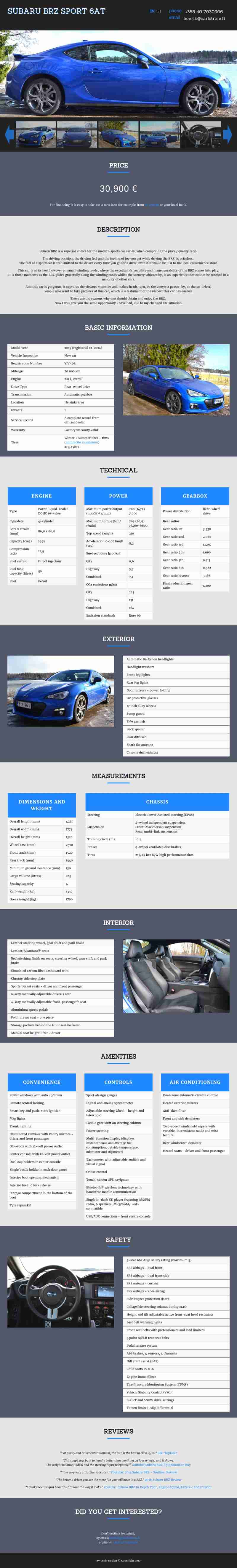 BRZ Sport Car portfolio website's fullscreen view