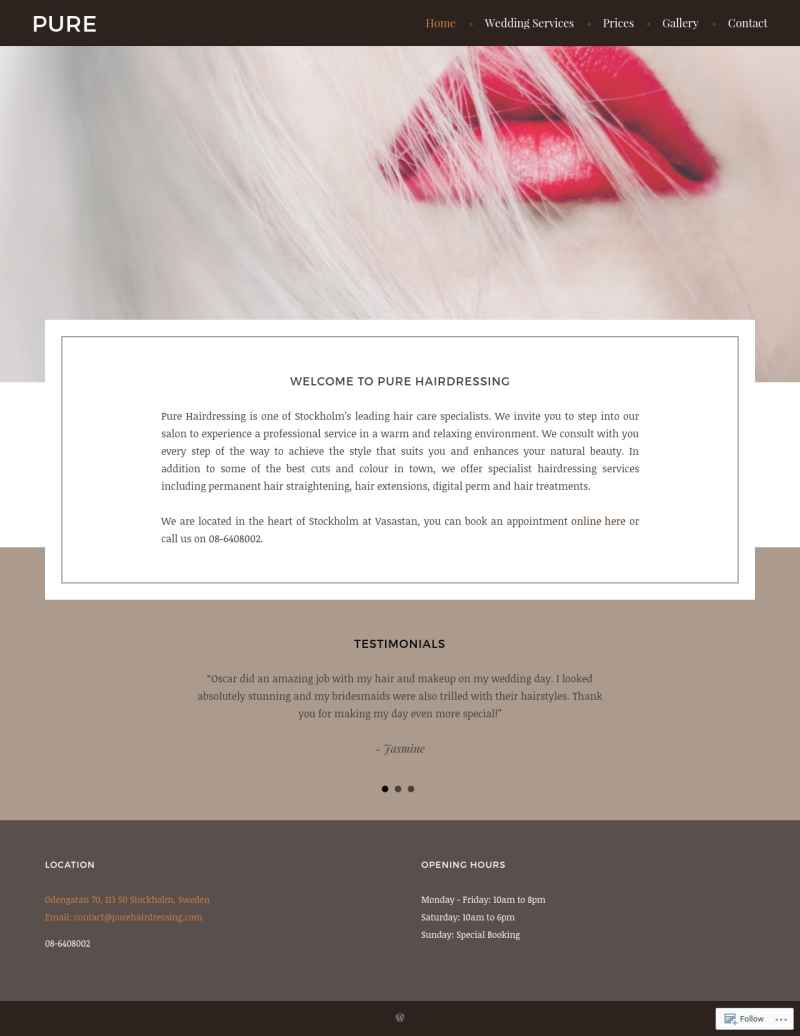 Pure Hairdressing portfolio website's fullscreen view