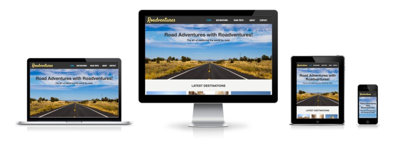Roadventures website's responsive mobile, tablet, laptop and desktop view