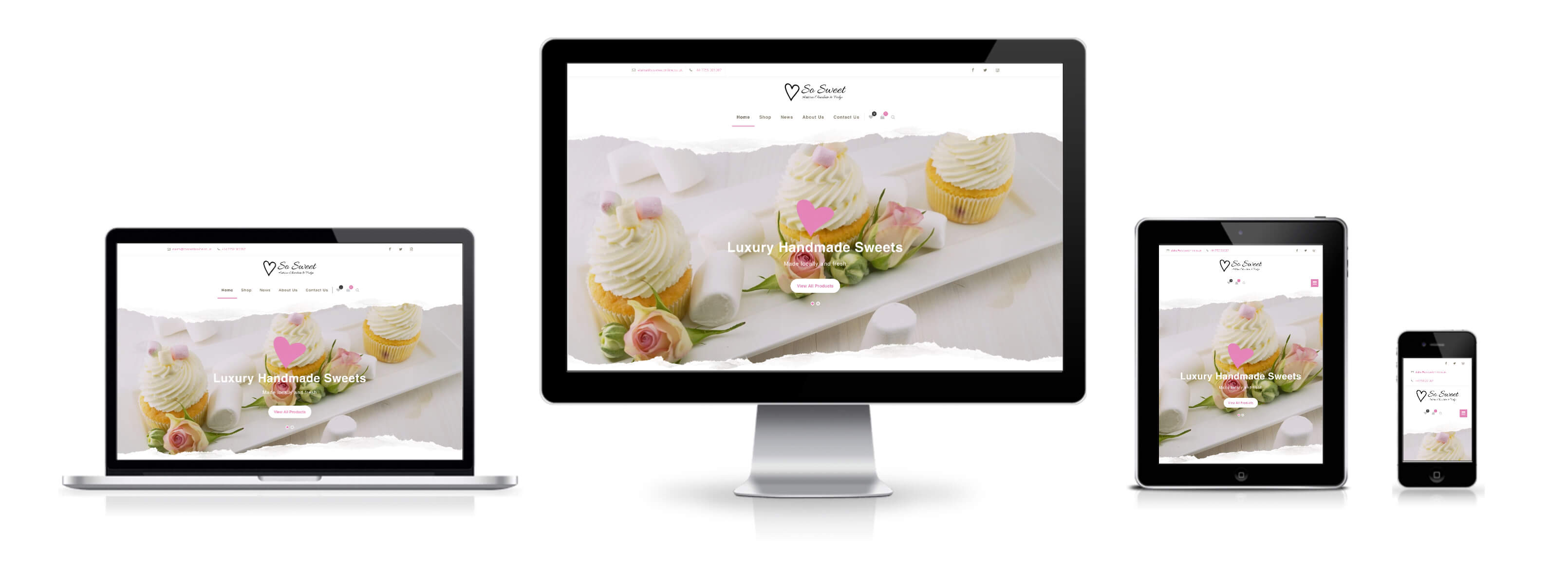 So Sweet website's responsive mobile, tablet, laptop and desktop view