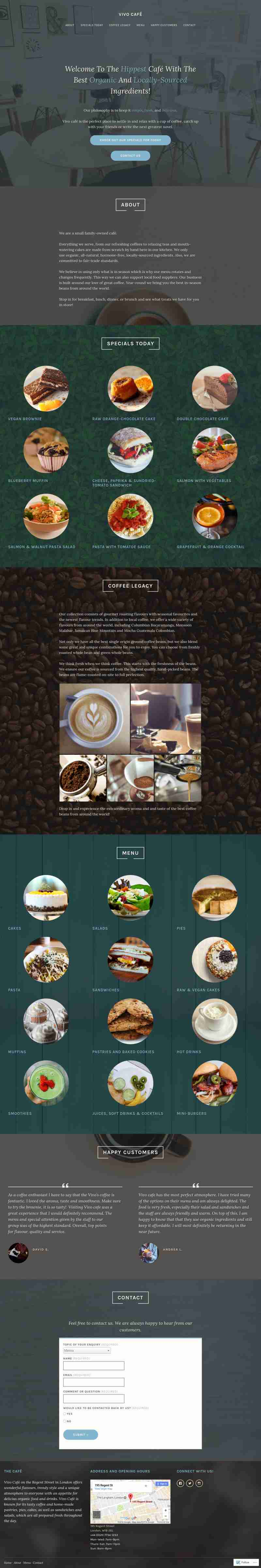 Vivo Café portfolio website's fullscreen view
